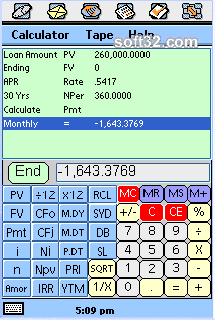tApCalc Financial tape calculator(Sony/Ericsson P800/P900) Screenshot 3