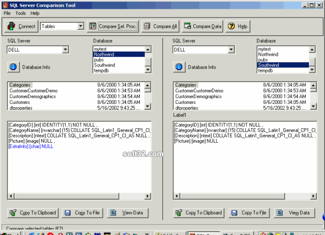 SQL Server Comparison Tool Screenshot 3
