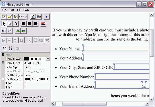 Miraplacid Form Professional Screenshot