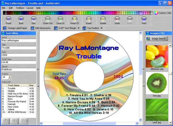 AudioLabel CD/DVD/LightScribe Labeler Screenshot