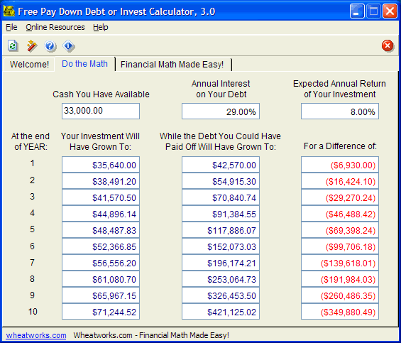 Free Pay Down Debt or Invest Calculator Screenshot