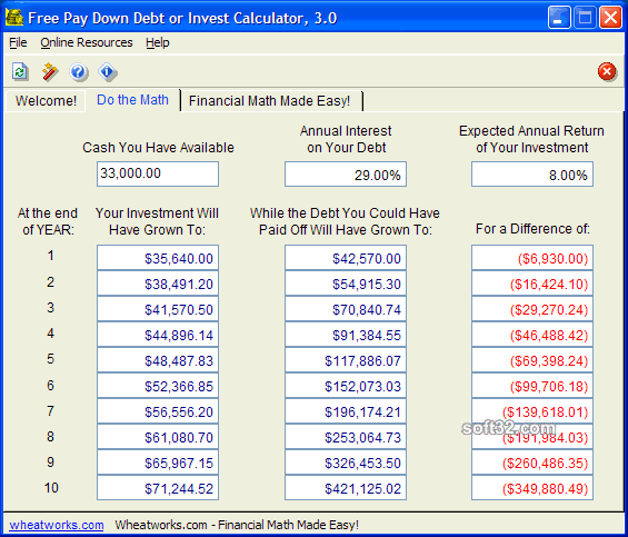 Free Pay Down Debt or Invest Calculator Screenshot 3