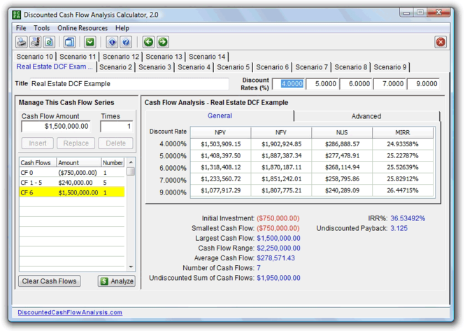 Discounted Cash Flow Analysis Calculator Screenshot