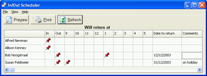 CyberMatrix In Out Scheduler Screenshot
