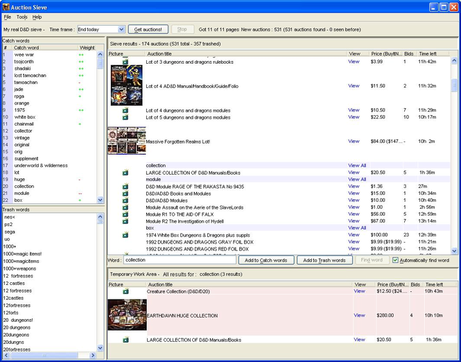 AuctionSieve Screenshot