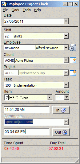 Employee Project Clock Screenshot