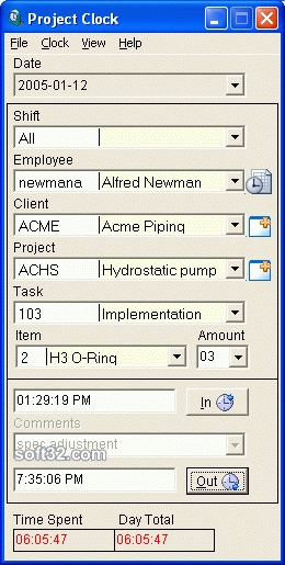 Employee Project Clock Screenshot 3