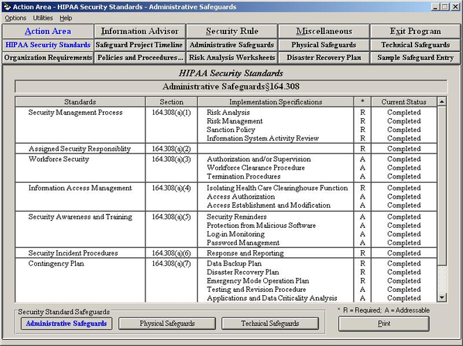HIPAA Security Rule Assistant Screenshot
