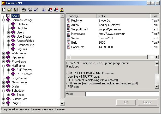 Eserv Mail, News, Web, FTP and Proxy Servers Screenshot 1