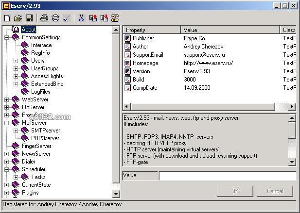 Eserv Mail, News, Web, FTP and Proxy Servers Screenshot 2