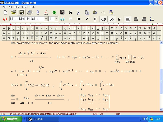 LiteralMath Screenshot