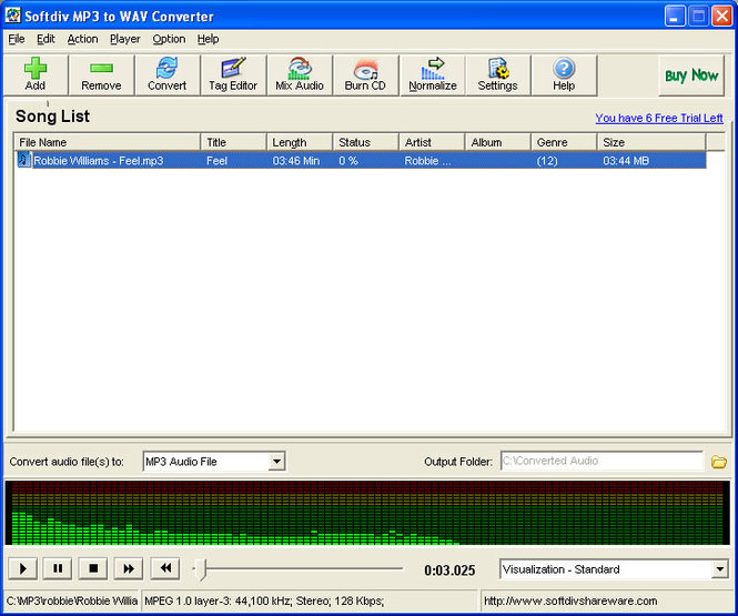 Softdiv MP3 to WAV Converter Screenshot