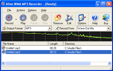 Alive WMA MP3 Recorder Screenshot