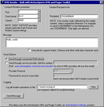 SMS and Pager Toolkit Screenshot