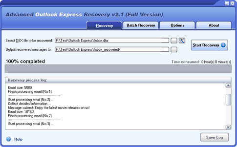 Advanced Outlook Express Recovery Screenshot