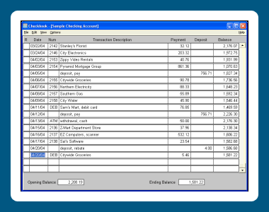 Dataware Checkbook Screenshot