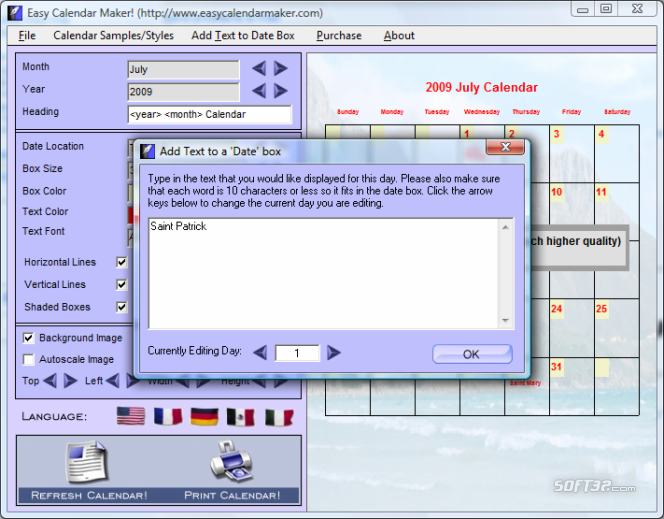 Calendars Software Screenshot 3