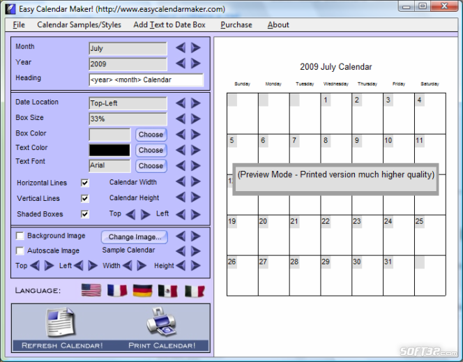 Calendars Software Screenshot 2