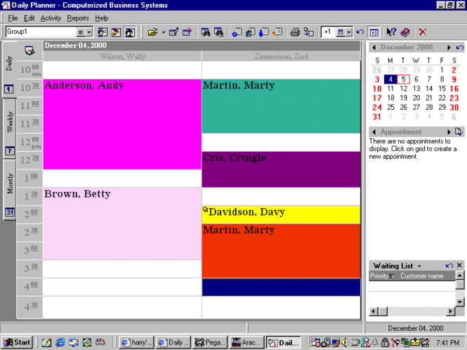 Appointment Scheduling Software Screenshot