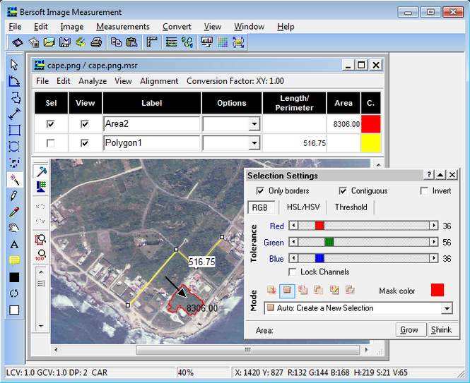 Bersoft Image Measurement Screenshot 1