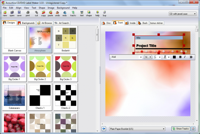 Acoustica CD/DVD Label Maker Screenshot 4