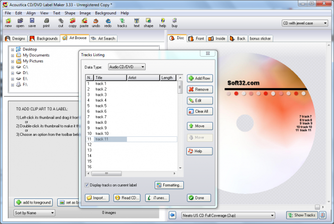 Acoustica CD/DVD Label Maker Screenshot 6