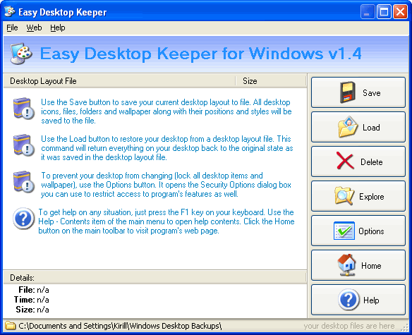 Easy Desktop Keeper Screenshot 1