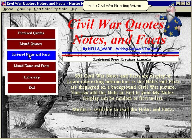Civil War Quotes, Notes, and Facts Screenshot