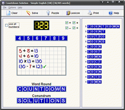 Countdown Solution Screenshot 1