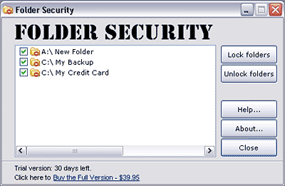 Folder Security Screenshot 1