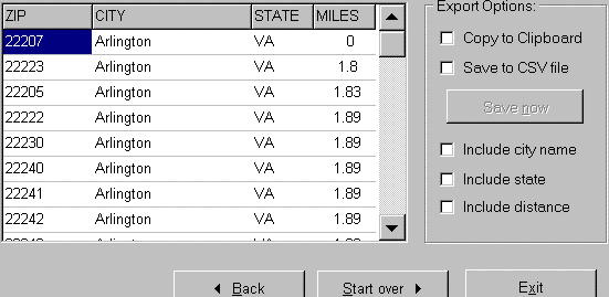 ZIP Code Distance Wizard Screenshot