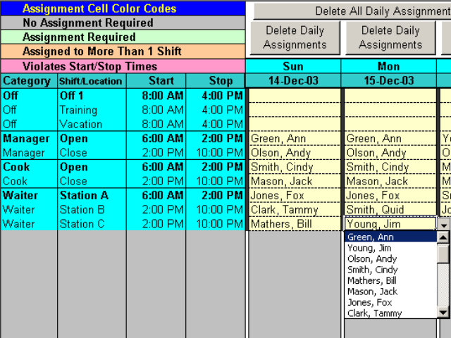 Complex Shift Schedules for 25 People Screenshot