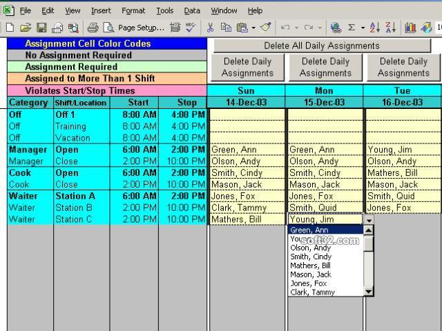 Complex Shift Schedules for 25 People Screenshot 2
