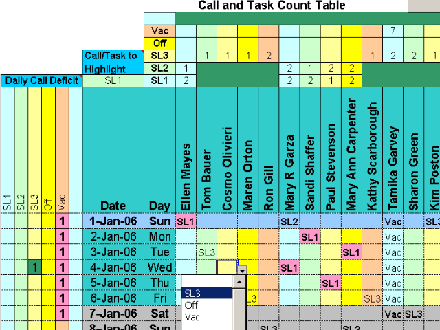 Doctors Calls for a Year with Excel Screenshot