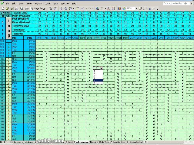 Doctors Calls for a Year with Excel Screenshot 2