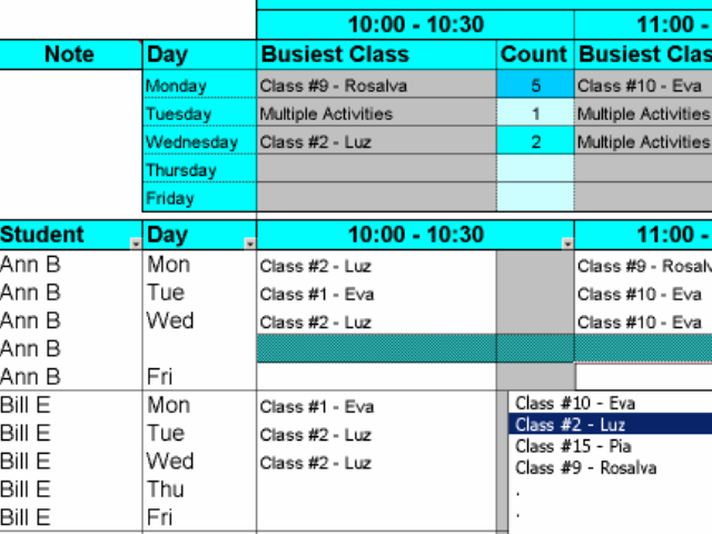 Create Student Class Schedules Screenshot