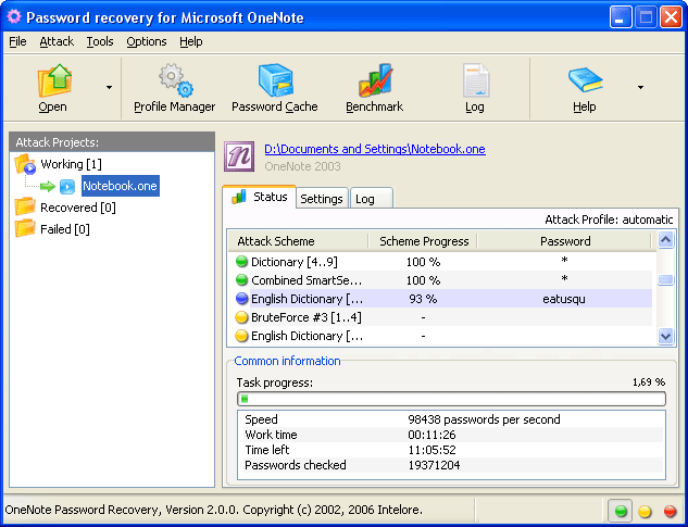 OneNote Password Recovery Screenshot 1