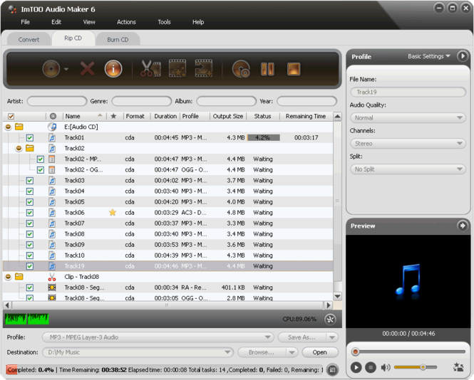 ImTOO Audio Maker Screenshot
