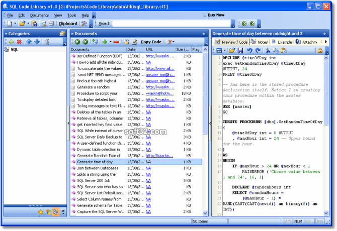 SQL Code Library Screenshot 2