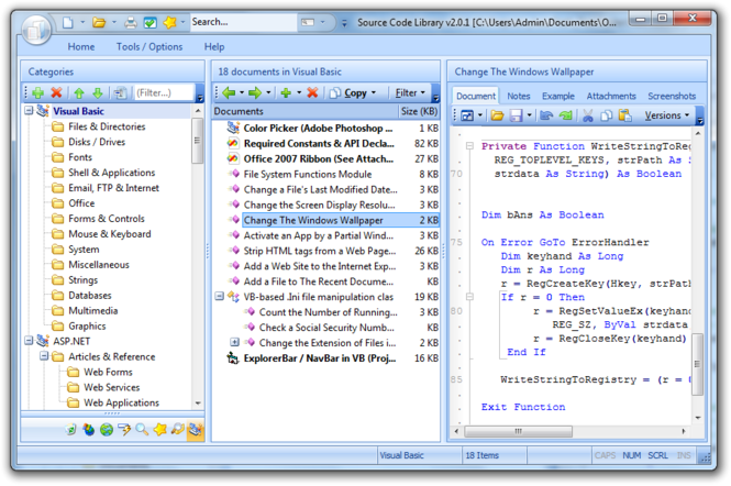 VB Code Library Screenshot
