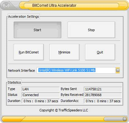 BitComet Ultra Accelerator Screenshot