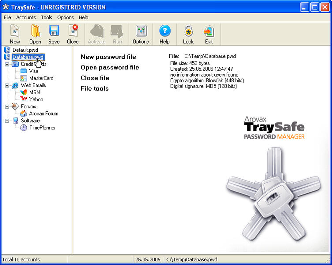 Arovax TraySafe Password Manager Personal Screenshot