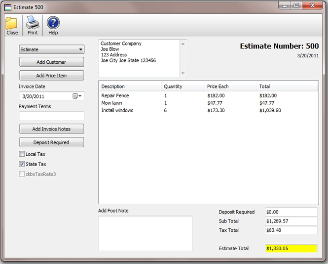 Bid-n-Invoice Basic Invoice Screenshot