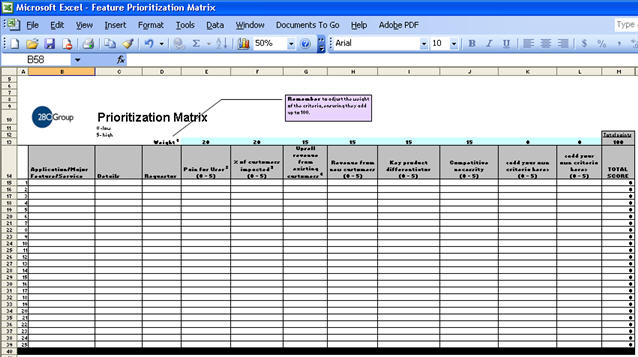 Feature Prioritization Roadmap Matrix Screenshot