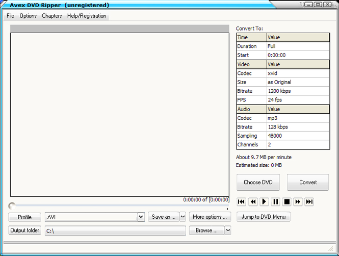 Avex DVD Ripper Screenshot