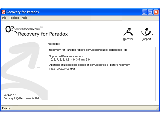 Recovery for Paradox Screenshot