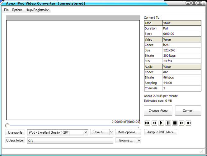Avex iPod Video Converter Screenshot