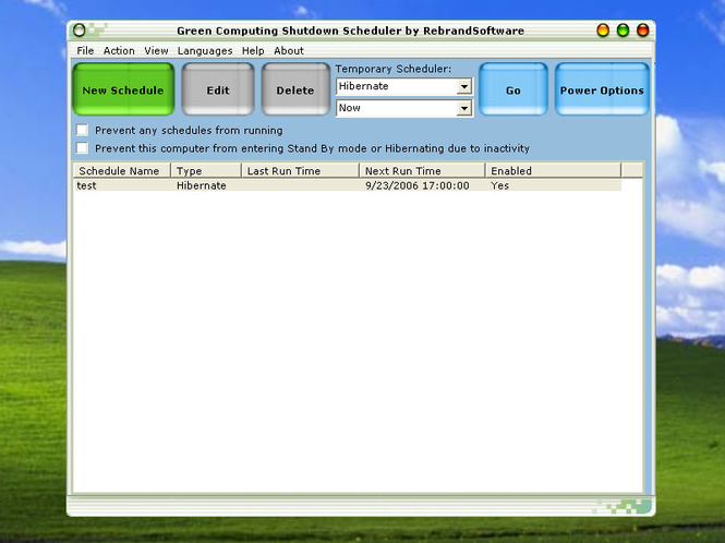 Green Computing Shutdown Scheduler Screenshot