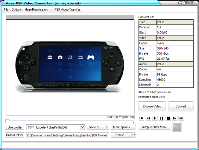 Avex PSP Video Converter Screenshot