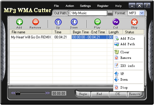 MP3 WMA Cutter Screenshot